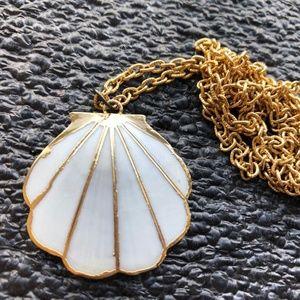 BOHO  MOP gold plated shell pendant necklace vinta